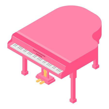Pink grand piano icon, isometric style