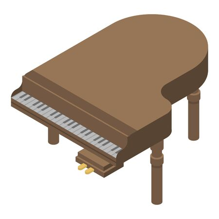 Old grand piano icon. Isometric of old grand piano vector icon for web design isolated on white background