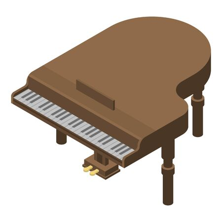 Retro grand piano icon. Isometric of retro grand piano vector icon for web design isolated on white background Stockfoto - 130251032