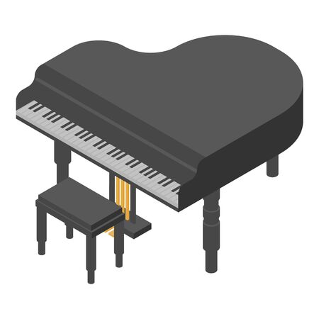 Concert grand piano icon, isometric style