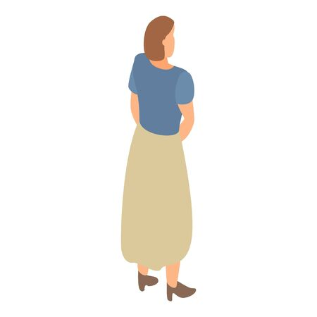 Woman in long skirt icon. Isometric of woman in long skirt vector icon for web design isolated on white background