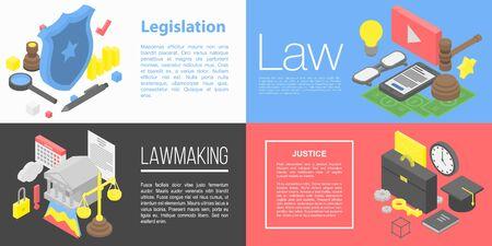 Set di banner di legislazione, stile isometrico