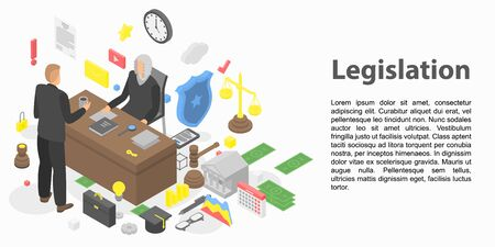 Modern legislation concept banner. Isometric illustration of modern legislation vector concept banner for web design Ilustração
