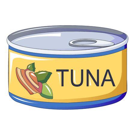 Icona del barattolo di latta di tonno. Cartoon di tonno barattolo di latta icona vettoriali per il web design isolato su sfondo bianco Vettoriali