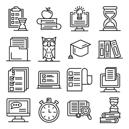 Preparation for exams icons set. Outline set of preparation for exams vector icons for web design isolated on white background Ilustrace