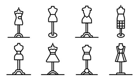 Mannequin icons set, outline style