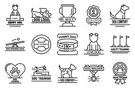 Dog training icons set, outline style