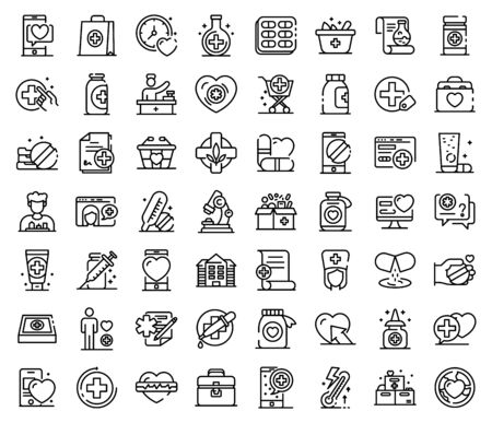 Pharmacist icons set, outline style
