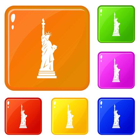 Statue of liberty icons set vector color