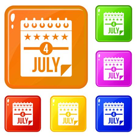 Independence day icons set vector color Illustration