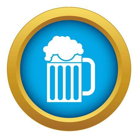 Beer mug icon blue vector isolated