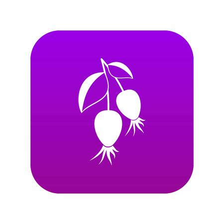Dogrose berries branch icon digital purple for any design isolated on white vector illustration