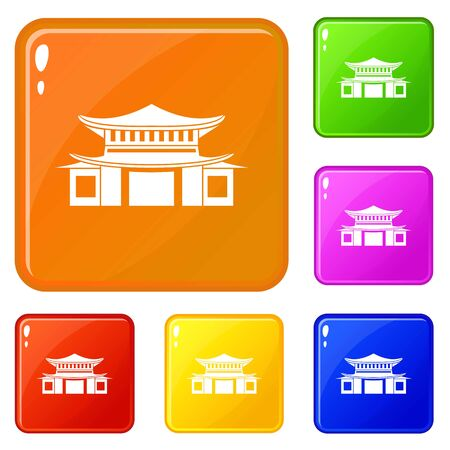 Chinese icons set vector color