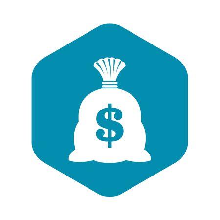 Money bag with US dollar sign icon. Simple illustration of money bag with US dollar sign vector icon for web Vektoros illusztráció