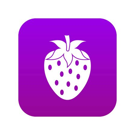 One strawberry berry icon digital purple for any design isolated on white vector illustration