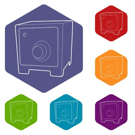 Safe icons vector hexahedron