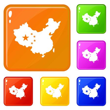 Map of China icons set collection vector 6 color isolated on white background