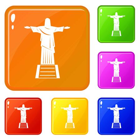 The Christ the Redeemer statue icons set vector color Illustration