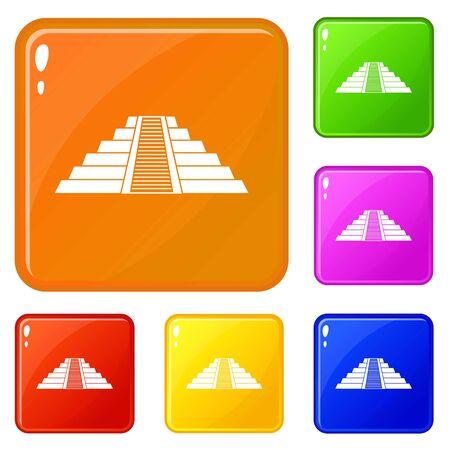 Ziggurat in Chichen Itza icons set vector color
