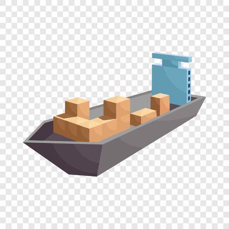Cargo ship icon. Cartoon illustration of cargo ship vector icon for web Illustration