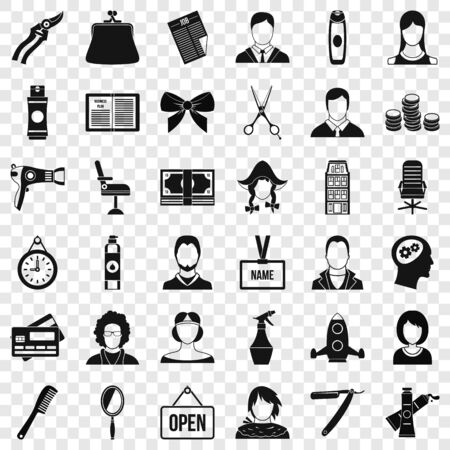 Hairdresser icons set, simple style