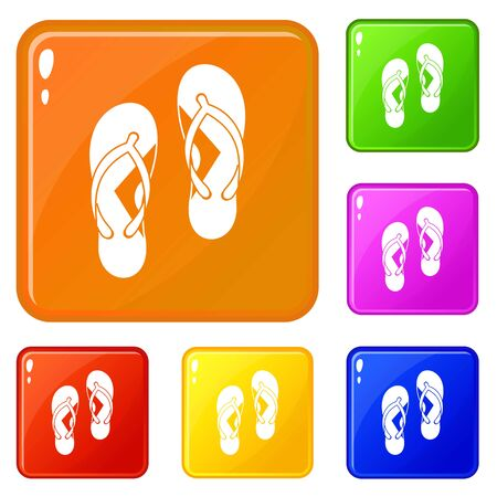 Flip flop sandals icons set collection vector 6 color isolated on white background