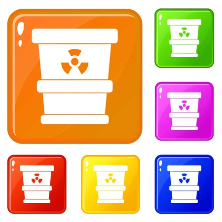 Trashcan containing radioactive waste icons set collection vector 6 color isolated on white background Ilustrace