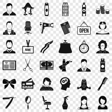 Mirror icons set, simple style Illustration