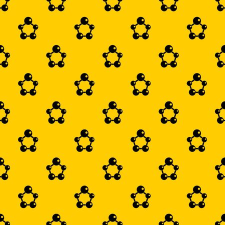 Chemical and physical atoms molecules pattern seamless repeat geometric yellow for any design
