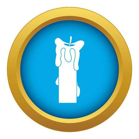 Extinguished candle icon blue isolated on white background for any design