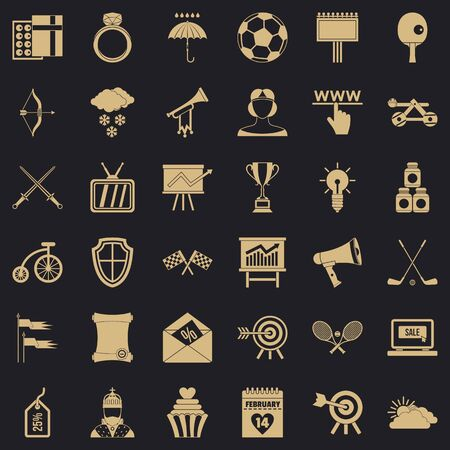 Arrow and bow icons set, simple style Banque d'images - 127157299