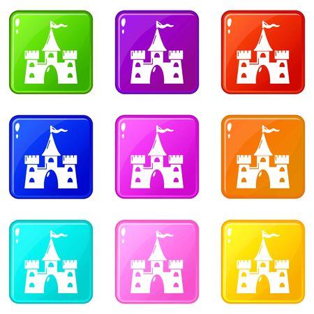 Castle building icons set 9 color collection Foto de archivo - 127159043