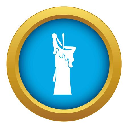 Little candle icon blue isolated