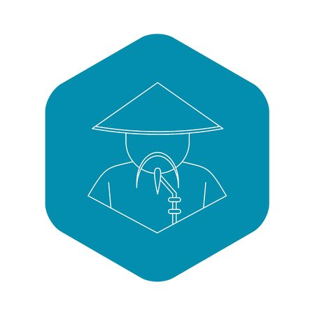Chinese man icon, outline style Imagens