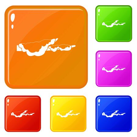 Snow icons set color Banco de Imagens