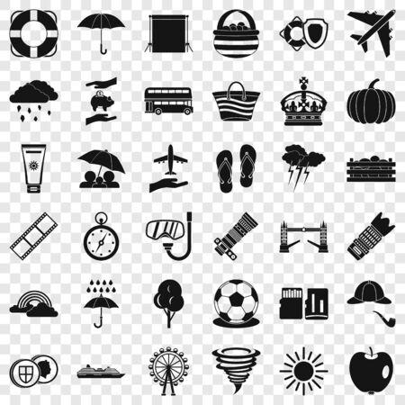 Big umbrella icons set, simple style