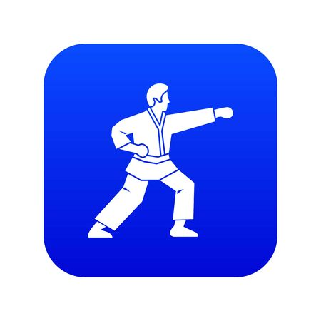 Aikido fighter icon digital blue