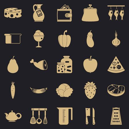 Meat delicacy icons set, simple style