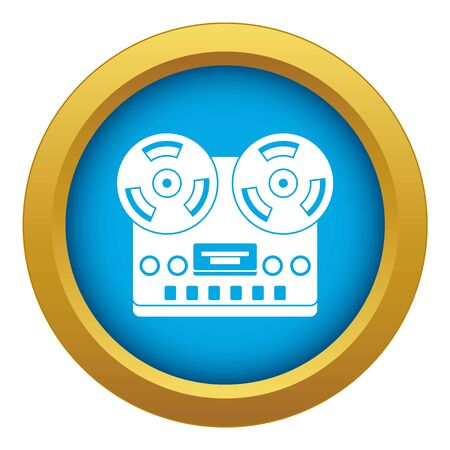 Retro tape recorder icon blue isolated Banco de Imagens