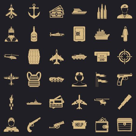 Combat alarm icons set, simple style