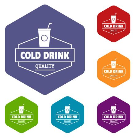 Cold drink icons hexahedron