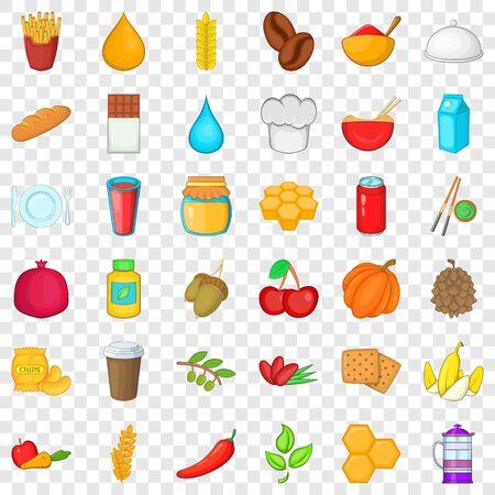 Vegan food icons set, cartoon style