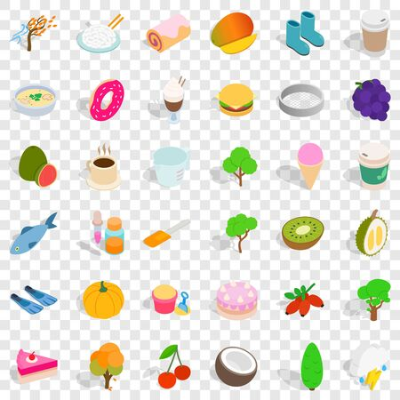 Healthy food icons set, isometric style