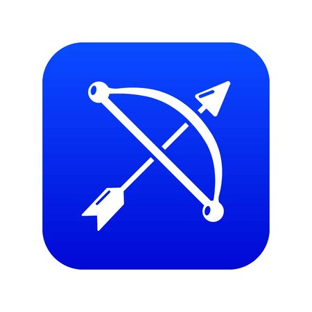 Medieval bow and arrow icon blue
