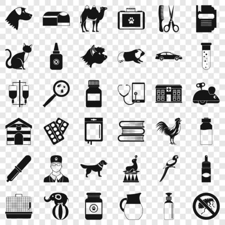 Vet doctor icons set, simple style