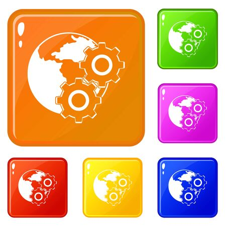 World planet and gears icons set color