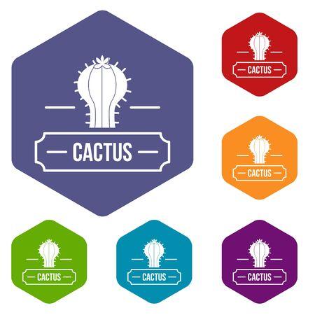 Decoration cactus icons hexahedron 写真素材