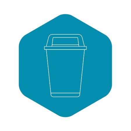 Icône de poubelle à couvercle rabattable, style de contour Banque d'images