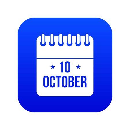 10 october calendar icon digital blue Banco de Imagens