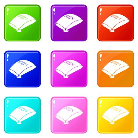 Sand bag icons set 9 color collection